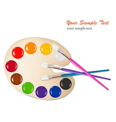 Brush with color paint vector