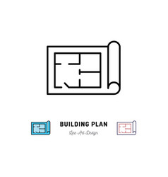Building plan icon outline symbol of construction vector