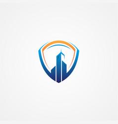 building symbol with shield vector image
