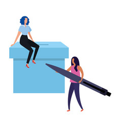 Business women with ballot box and pen vector
