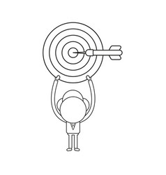 Businessman character holding up bulls eye with vector