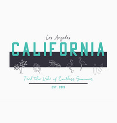 California design for t shirt with hand drawn vector
