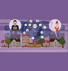 Call center town banner horizontal cartoon style vector
