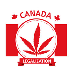 cannabis legalization canada emblem vector image