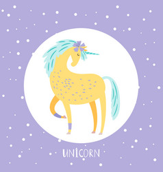 cartoon unicorn card design in round vector image