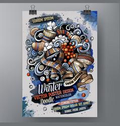 cartoon watercolor doodles winter poster vector image