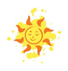 cheerful smiling sun with paint drops on vector image