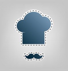 chef hat and moustache sign blue icon vector image