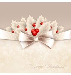 christmas background with bow and holly vector image vector image