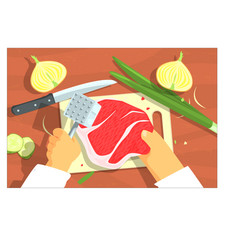 Cooking of steak bright color hands vector
