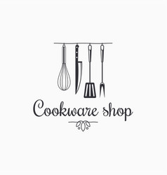 cookware shop logo kitchen utensils on white vector image
