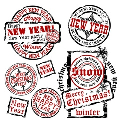 Cristmas and New Year emblems vector image