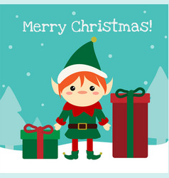 cute chistmas elf standing with presents in the vector image