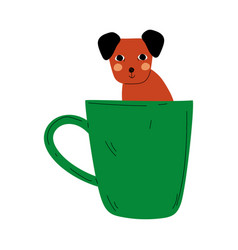 cute dog in green teacup adorable puppy animal vector image
