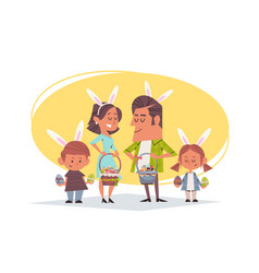 cute family in rabbit ears holding baskets with vector image