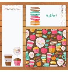 Cute food set of design element vector image