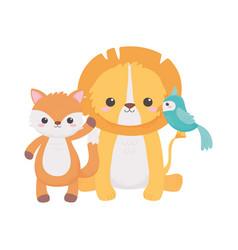 cute little lion parrot and fox cartoon animals vector image