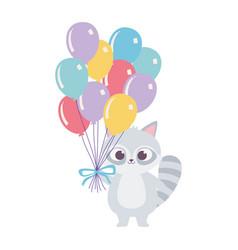 cute raccoon with balloons animal happy birthday vector image