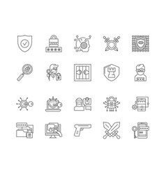 Defence line icons signs set outline vector