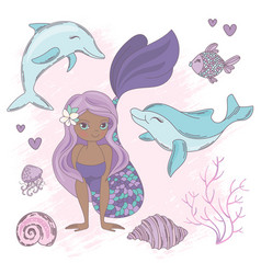 dolphin kiss mermaid sea animals vector image