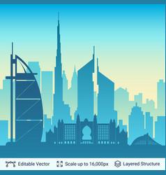 Dubai famous city scape vector