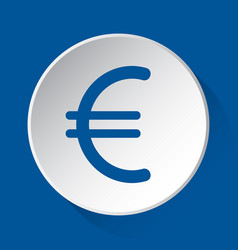euro currency symbol - blue icon on white button vector image