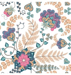 Fantasy flowers seamless hand drawing pattern vector image