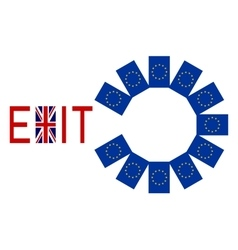 Flags of Europe and United Kingdom with word Exit vector image