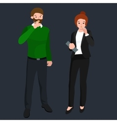 Funny cartoon office worker smoking cigarette vector