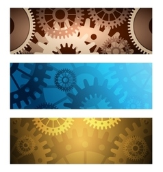 Gears Banners set vector