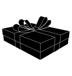 Gift box with ribbon bow black outline drawing vector