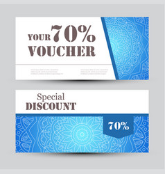 gift voucher template with mandala design vector image