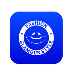 Glamour hat icon blue vector