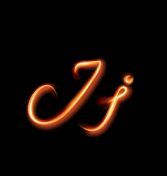 Glowing light letter j hand lighting painting vector