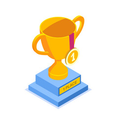 gold cup with a medal for first place flat vector image