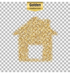 Gold glitter icon of house isolated on vector