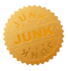 Golden junk badge stamp vector