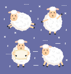 good night sleep cartoon sheep animals vector image