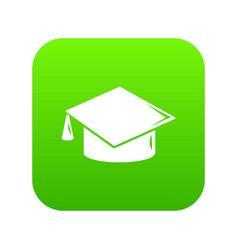 graduation cap icon green vector image