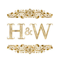 H and w vintage initials logo symbol vector