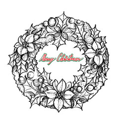 hand drawn of christmas wreath of red poinsettia f vector image