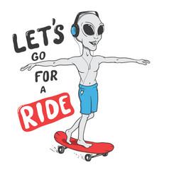 Happy alien rides on skateboard vector