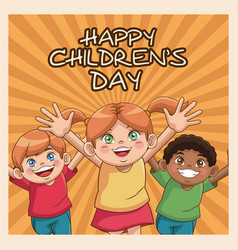 Happy children day card cute girl and boys vector