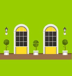 House facade landscaping vector