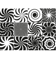 hypnotic shapes collection radial black white vector image