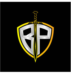 Initials b p is a shield decorated vector