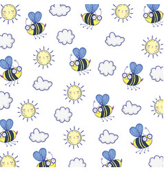 Isolated bee draw cartoon background vector