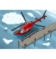 Isometric Arctic Emergency Helicopter at Pier vector