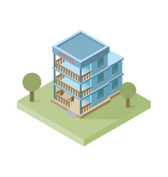 Isometric hotel building icon vector