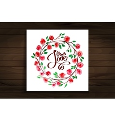 lettering with true love framed watercolor flowers vector image